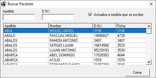 Lista de pacientes software SGA