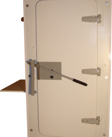 Foto de puerta y cerradura de la cabina sonoamortiguada CB-70